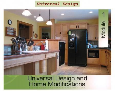 Interior view of a well-lit kitchen, with course title overlaid.